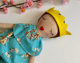 Handmade cloth doll, fabric doll, princess doll, blue romper, pretend play, gift for girls, handmade, handembroidered, heirloom