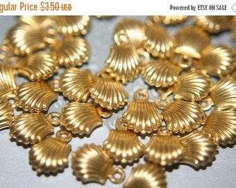 MARCH DEALS Raw Brass Mini Shell Charms - 24 pcs