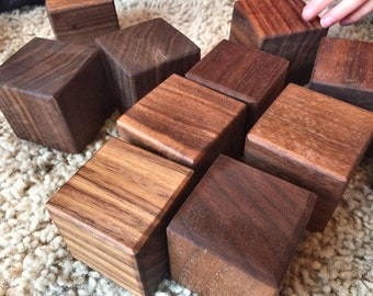 15 GIANT black walnut toy building blocks - 1-3/4 inch x 1-3/4 inch square - baby's first blocks - the Little Builders