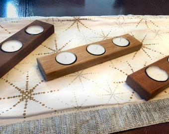 Tealight Candle Holder - solid wood candle holder - made of reclaimed lumber - 3 wood types to choose from