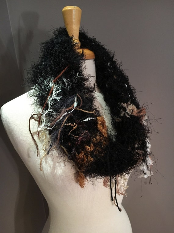 Knit fringed plush cowl with fringe, Shag, Cowl, Bohemian, Fringed Knit Black scarf, choker, scarves, black brown knit, infinity scarf