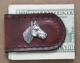 Handcrafted Brown Leather Money Clip with Horse Head