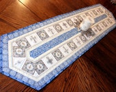 Religious Quilted Table Runner - Easter Table Runner Quilt - Christmas Quilt, Blue Easter Quilt, Dan Morris Heavenly Fabric Quiltsy Handmade
