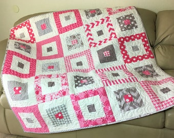 Pink and Gray Baby Girl Quilt, Baby Shower Gift,  Large Quilted Baby Blanket, Toddler Quilt, Quiltsy Handmade, Pink Grey Small Sofa Throw