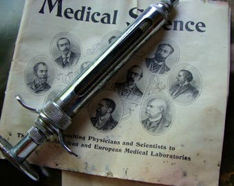 Rare Antique Hypodermic Metal Syringe