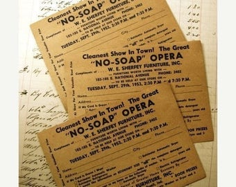 ON SALE 6 Totally KQQL Door prize Ephemera Cards from the 1950's