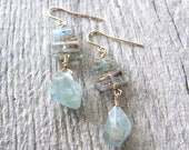 Summer Sale 20% Off Aquamarine Earrings, Gold or Silver Blue Stone Earrings