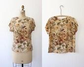 vintage silk blouse / floral silk blouse / Gathering blouse