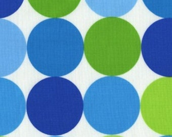 SALE Fabric - Disco Dot Caribe, Michael Miller Fabric, 100% Cotton Fabric, Blue and Green Dot Fabric - END of BOLT - 1.5 yards - See Photos