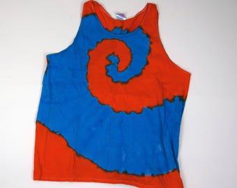 Whoa Dude! ~ Spiral Tie Dye Tank Top (Gildan Ultra Cotton Tank Size XL)(One of a Kind)