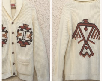 VINTAGE 70s Miller Western Wear thinderbird cowichan cardigan sweater