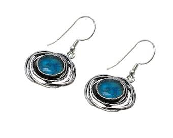Blue Roman Glass Fantasy Earrings, Boho Chic Silver Earrings, Roman Glass Dangle Earrings, Silver Wire Roman Glass Earrings