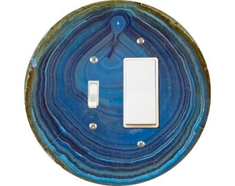 Blue Geode Stone Toggle and Decora Rocker Switch Plate Cover
