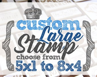 5x1 to 8x4 inches - CUSTOM Art Wood Mounted Rubber Stamp - FREE HANDLE - Logo, Branding, Packaging, Invitations, Party, Favors, Wedding