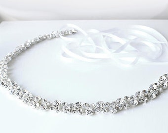 Crystal Bridal Sash | Rhinestone Bridal Belt | Wedding Sash | Wedding Dress Belt | Bridal Gown Sash | Diamante Bridal Sash [Starbright Sash]