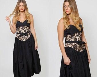 FALL SALE Vintage 80s GUNNE Sax Dress Black Taffeta & Lace Party Dress Strapless Evening Dress Vintage Prom Dress