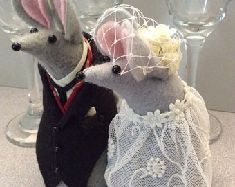 Mr and Mrs Mouse  Wedding Cake Topper Gray Felt Mice