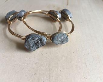 Wire Wrap bracelets, bangle bracelets, druzy bangle bracelet,wire bangle bracelet