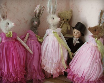 MADE TO ORDER - Rabbit Art Doll -  Vintage Styled 10-inch Mohair and Cotton Soft Bunny Rabbit Doll