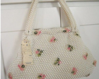 NOS Vintage 1950s Deadstock White Beaded Pink Floral Corde Bead Lumured Purse