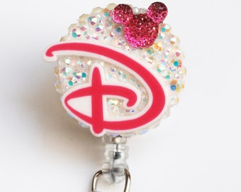 D Is For Disney In Pink ID Badge Reel - Retractable ID Badge Holder - Zipperedheart