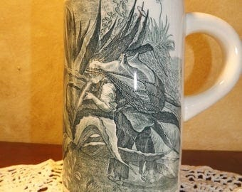 Vintage Stoneware Mug with transfer of Woodland Nymph/Fairy/ WeeFolk Male Fantasy
