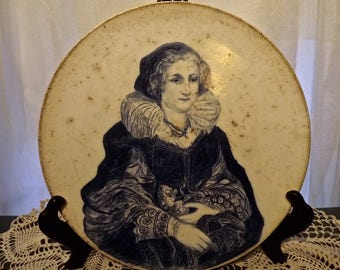 Antique 1600s German Woman Portrait Plate