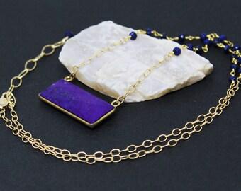 Lapis Lazuli Gemstone . Sterling Silver Vermeil and 14k Gold Filled Pendant Necklace . Dark Blue . N16093