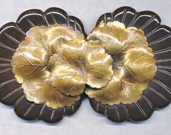 Unusual Large BAKELITE BELT BUCKLE with Brass Leaf