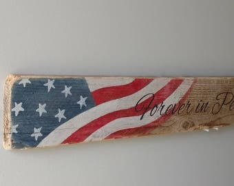 "Patriotic Flag Driftwood Board Sign, US Flag, Forever in Peace may you wave, 31"" x 3.5"", Memorial Day, 4th of July Decor, Over Doorway Sign"