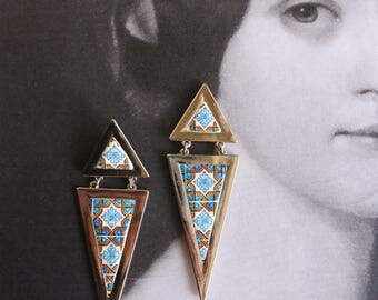 Geometric Retro Earrings Portugal  Antique Azulejo Tile Replica reversible Posts Blue Brown