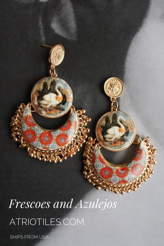 Chandelier Earrings Portugal Antique Azulejo Tile and Fresco Replica National Palace of Sintra - SWANS- and Valega Red Tiles Gift Box