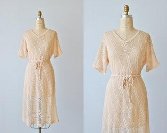 Vintage Crochet Dress / 1970s Crocheted Dress / Cotton Crochet Dress / Size Medium