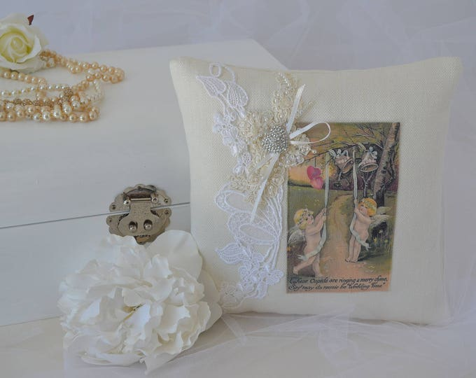 "Wedding Ring Bearer Pillow ""Wedding Time"""