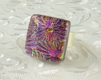 Dichroic Fused Glass Ring - Metal Ring - Geekery Jewelry - Large Jewelry - Glass Ring - Fused Glass Ring - Dichroic Jewelry X4087