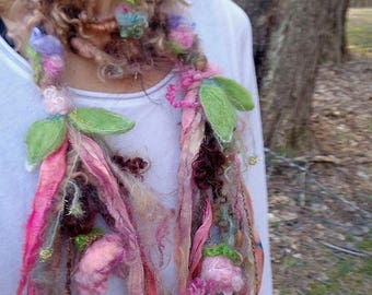 soft artyarn silk garland lariat fantasy scarf  -  woodland peony daydream