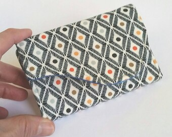 Small geometric  Card Holder Wallet in Navy White Multi-colored