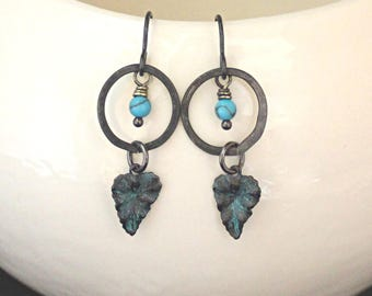 Turquoise Jewelry, Vintaj Jewelry, Hammered Earrings, Boho Jewelry, Leaf Jewelry, Black Jewelry, Bohemian Jewelry, Made In Ohio