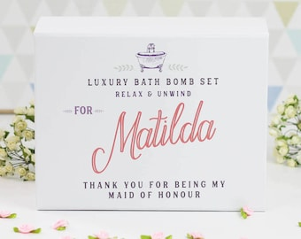 Personalised Maid Of Honour Thank You Gift - Maid of Honor Thank You, Personalized Bath Bomb Gift Set, Bridal Party Gift Box