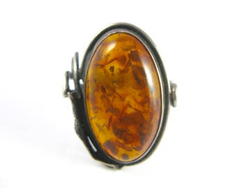 Size 8 1/4 Vintage Oval Amber Sterling Silver Ring