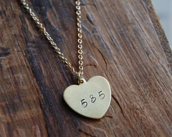 585 Love. Rochester NY Area Code Gold Heart Pendant Necklace