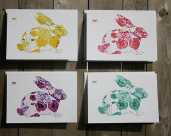 Bunnies Note Card Set of 4, 8 or 12 Baby Shower Gift Set
