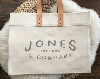 Oversized Personalized Canvas Leather Tote Bag | Custom Name and Year | Graduation | Teacher | Baby | Family | Wedding | Anniversary | Gift