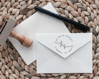Custom Return Address Stamp | Signature Style | Wood with Handle or Self Inking