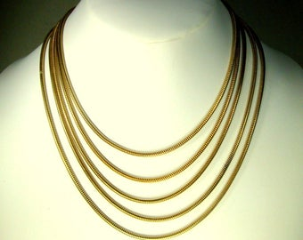 Vintage 5 Art Deco Snake Graduated Length Chains In One Choker Necklace, Shiny Gold, 1970s