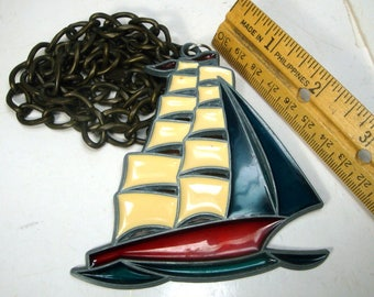 Nautical Sailing Ship GIANT Plique a Jour Pendant on Thick Heavy Chain, Mans Amulet for Independence Day, July 4th