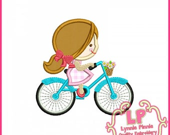 Spring Bicycle Cutie Girl Applique Design 4x4 5x7 6x10 7x11  Machine Embroidery Design