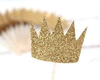 Max's Crown Glittery Cupcake Toppers - Set of 12 - Where the Wild Things Are, little prince