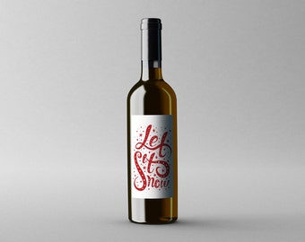 PRINTABLE Christmas Winter Let It Snow DIY Wine Bottle Gift Tag Gift Wrap Decoration Red White