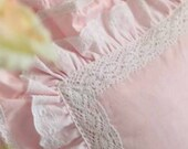 Pink Ruffle Pillow with Lace - Reserved for Dawn